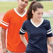 V-Neck T-Shirt with Striped Sleeves
