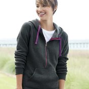 Ladies' 1/2 Zip Triblend Hooded Sweatshirt
