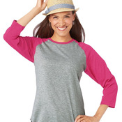Ladies' Fine Jersey 3/4 Sleeve Baseball T-Shirt
