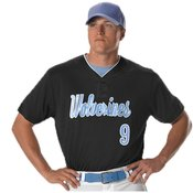 Two Button Mesh Baseball Jersey With Piping